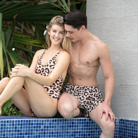 matching swimsuit for couple - matching swimwear - leopard - matching swimwear mr and mrs