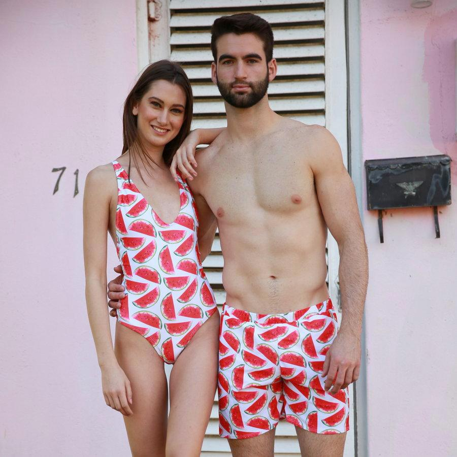 56e771519e Watermelon - Couple Swimsuits - women and men matching swimsuits