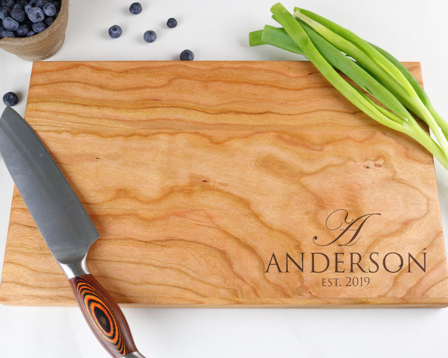 "Cherry Cutting Board with ""005"" Engraving - Muskoka Woodworking"