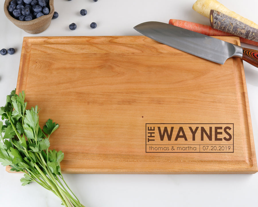 "Cherry Cutting Board with ""007"" Engraving - Muskoka Woodworking"