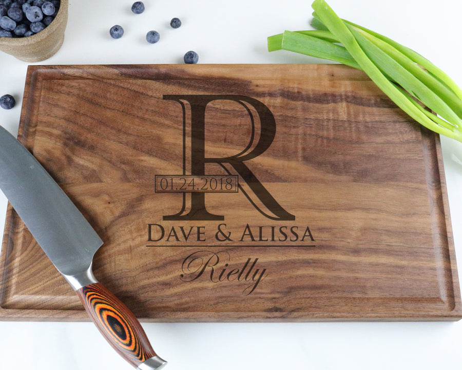 "Walnut Cutting Board with ""006"" Engraving - Muskoka Woodworking"