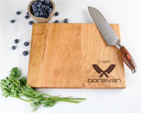 "Cherry Cutting Board with ""002"" Engraving - Muskoka Woodworking"