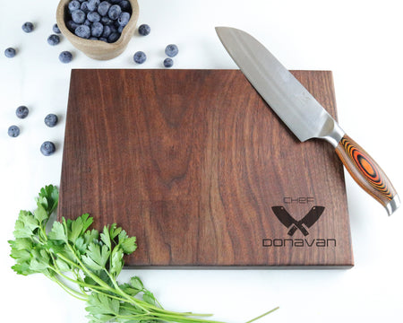 "Walnut Cutting Board with ""002"" Engraving - Muskoka Woodworking"
