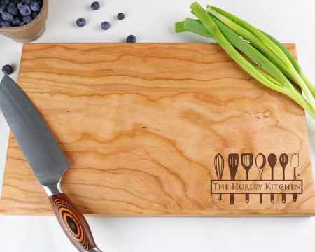 "Cherry Cutting Board with ""014"" Engraving - Muskoka Woodworking"