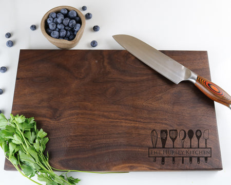 "Walnut Cutting Board with ""014"" Engraving - Muskoka Woodworking"