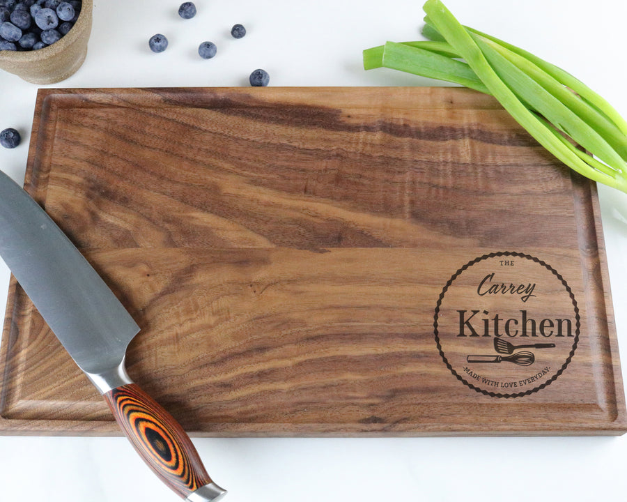 "Walnut Cutting Board with ""013"" Engraving - Muskoka Woodworking"
