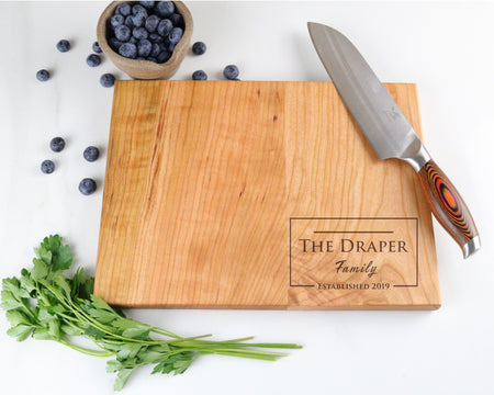 "Cherry Cutting Board with ""011"" Engraving - Muskoka Woodworking"
