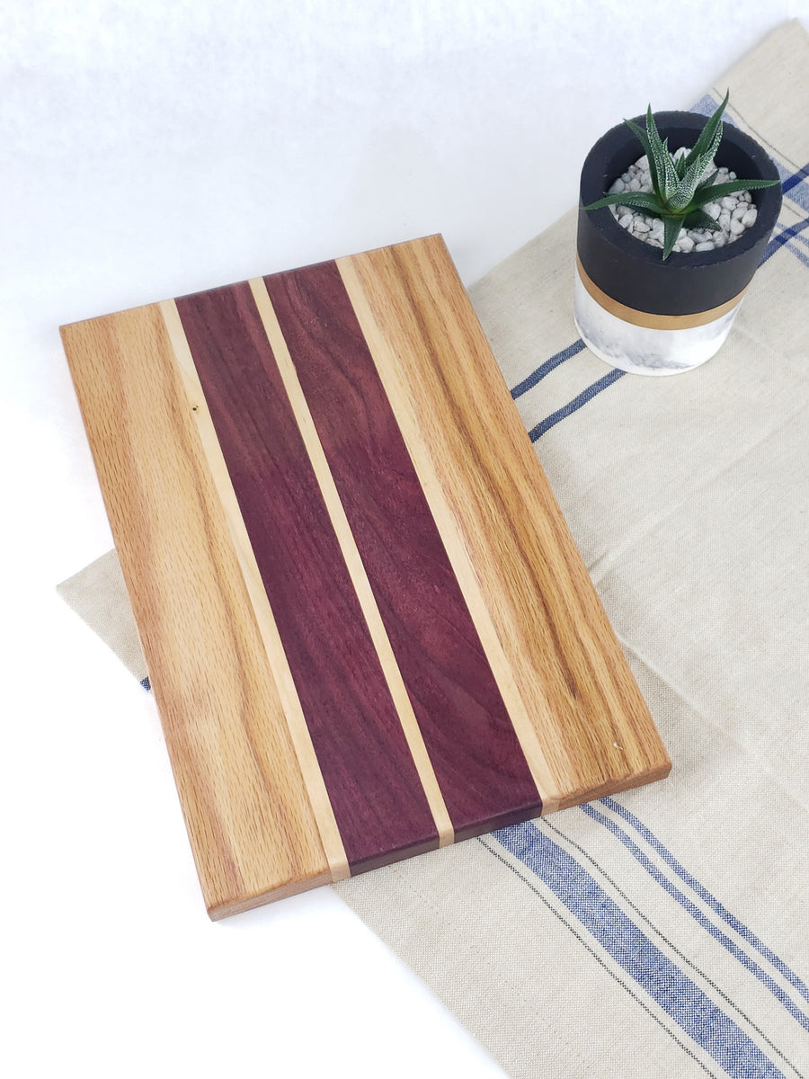 Purple Heart and Oak Cutting Board - Muskoka Woodworking
