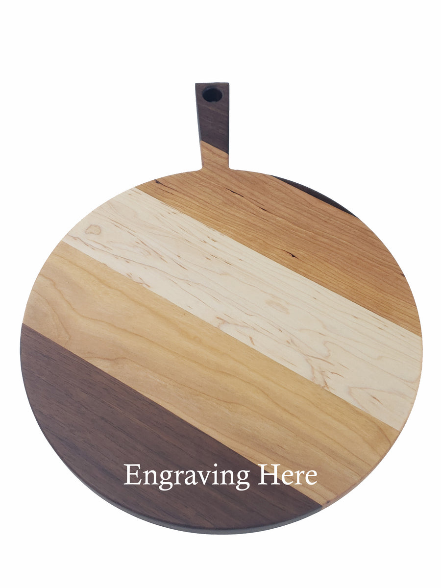 Round Paddle Cheese Board - Mixed Woods - Muskoka Woodworking