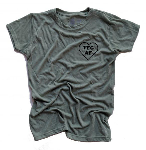 Yeg AF tee- Heather green