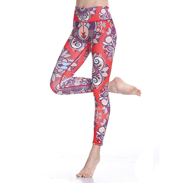 Red Lotus Print Yoga Leggings