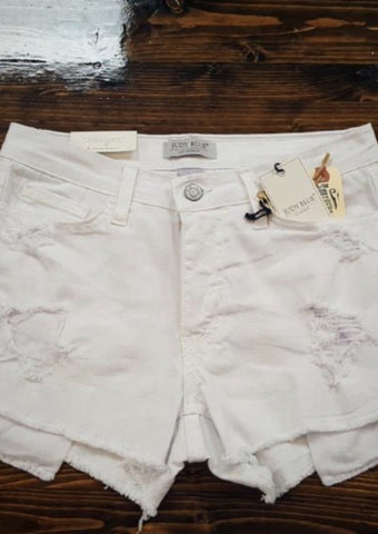 Distressed White Jean Shorts - Southern Native