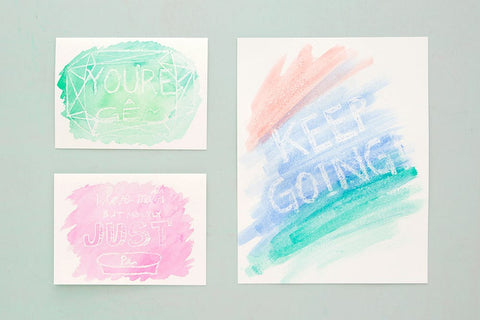 watercolor cards with secret messages