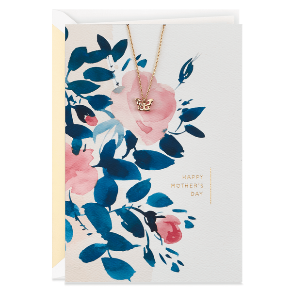 mother's day card with butterfly necklace