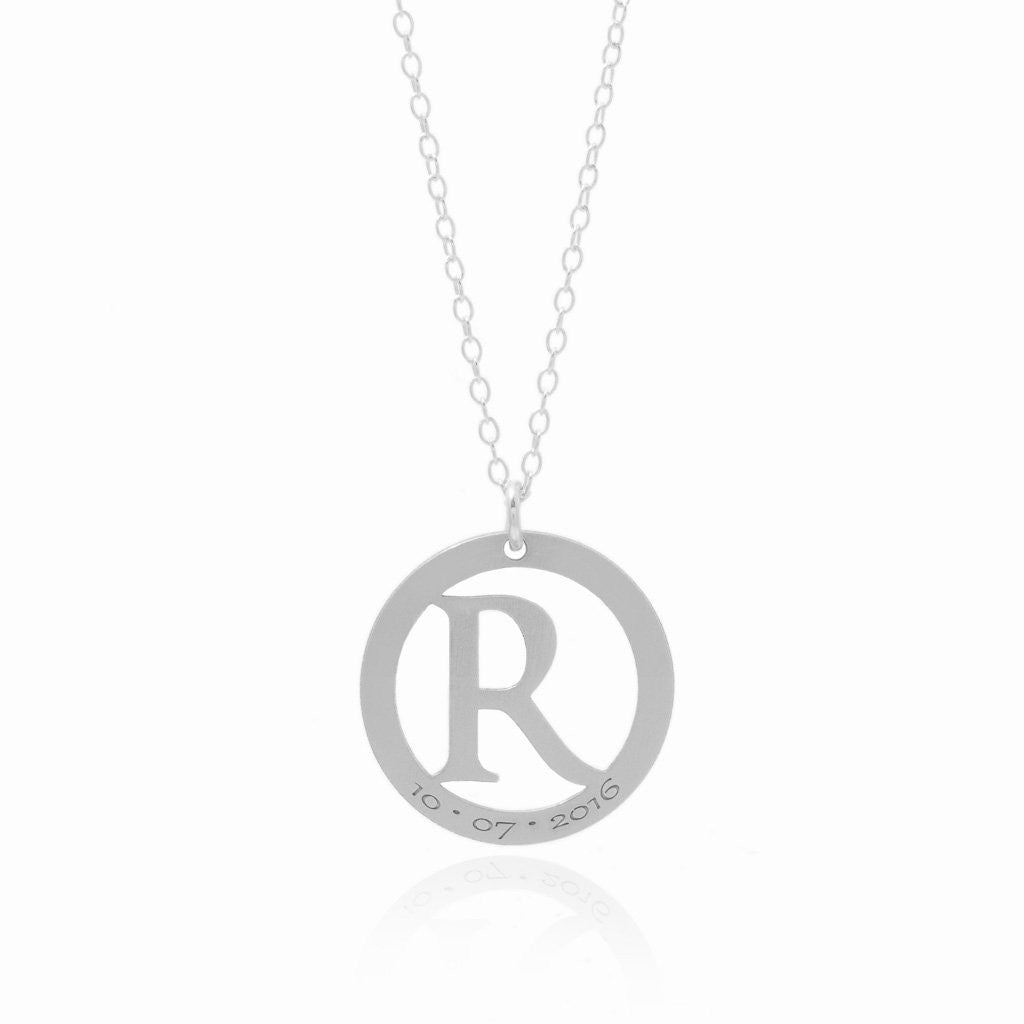 Circle Initial Necklace Sincerely Silver