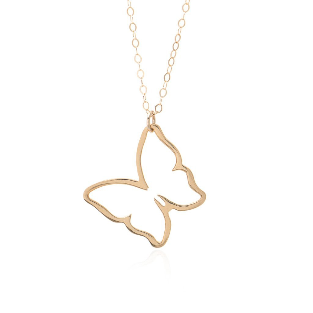 Gold Butterfly Pendant Necklace Sincerely Silver