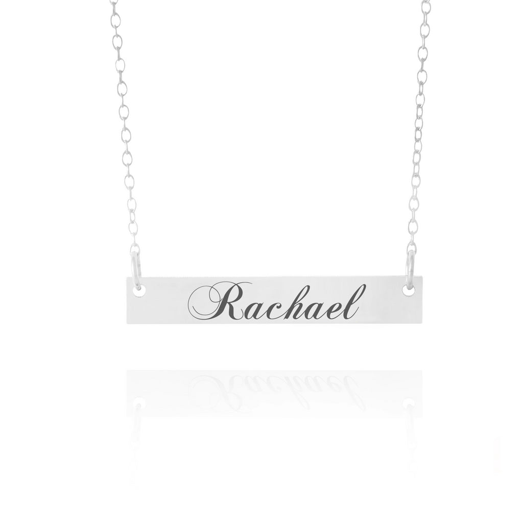 Curly Name Bar Necklace