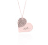 Fingerprint Heart Necklace Rose Gold