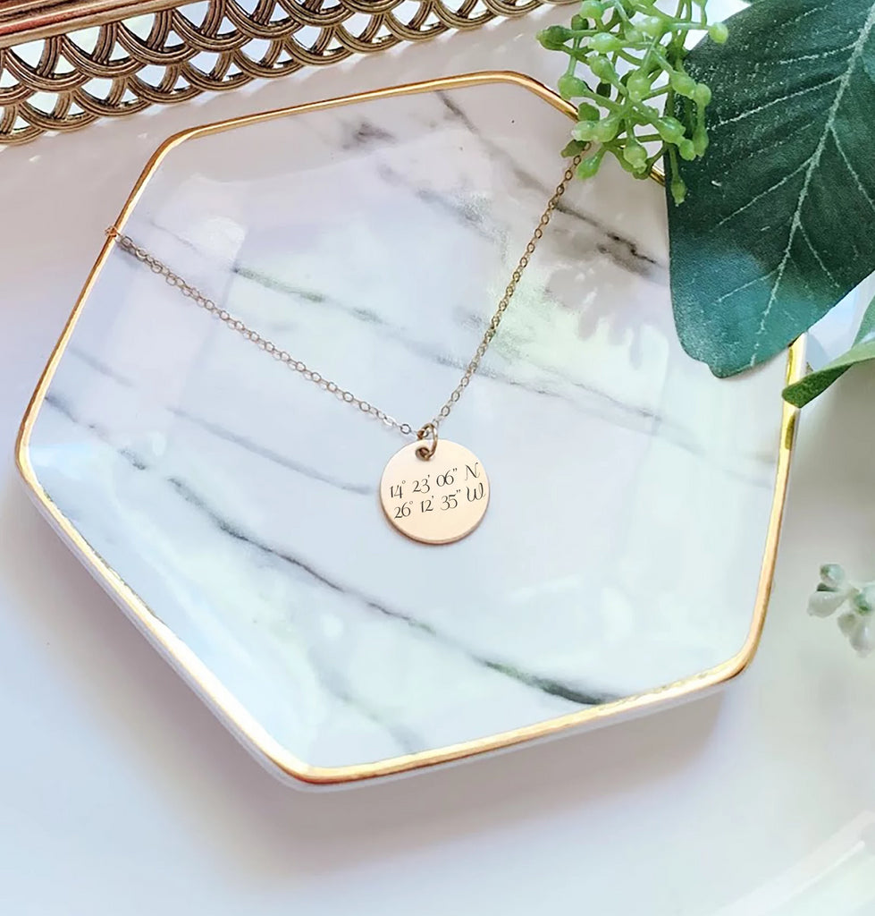 Gold Disc Coordinates Necklace