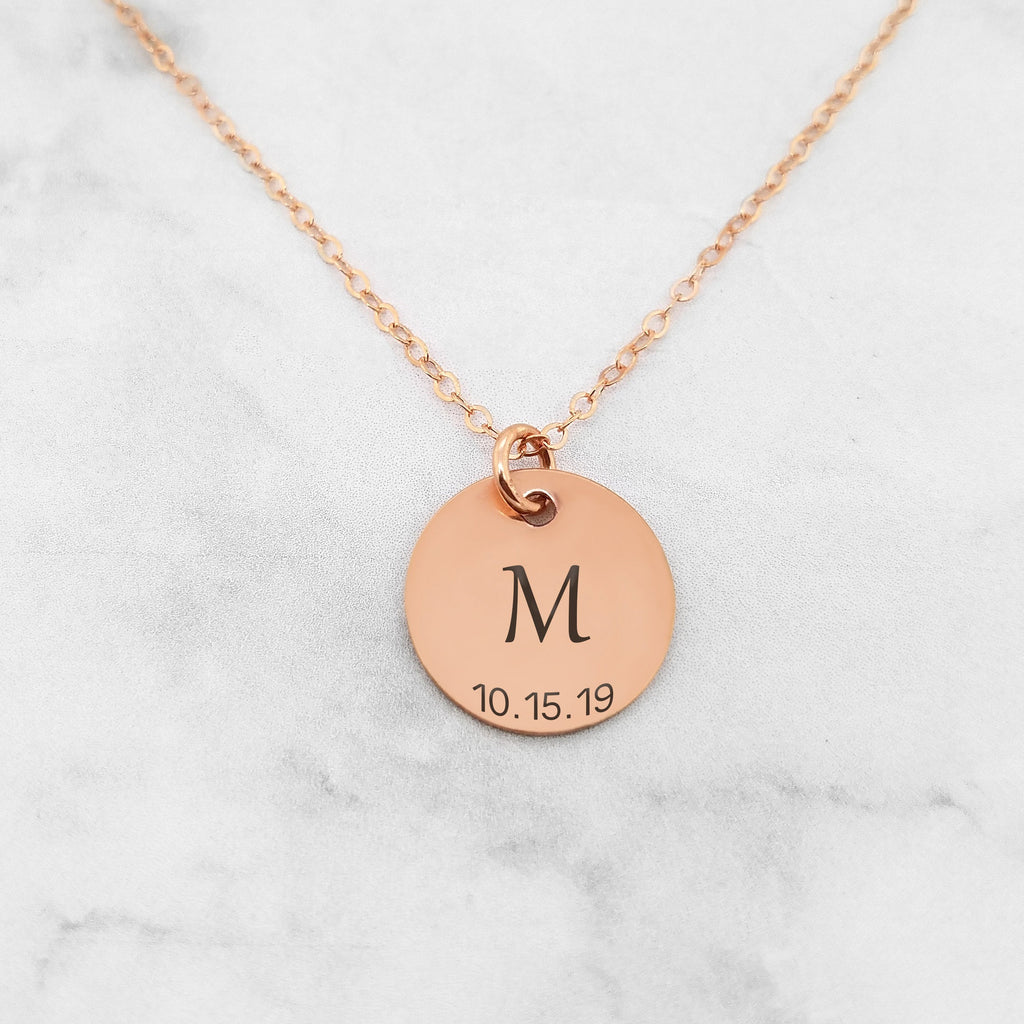 Initial Necklace - Personalized Initial Birthdate Necklace