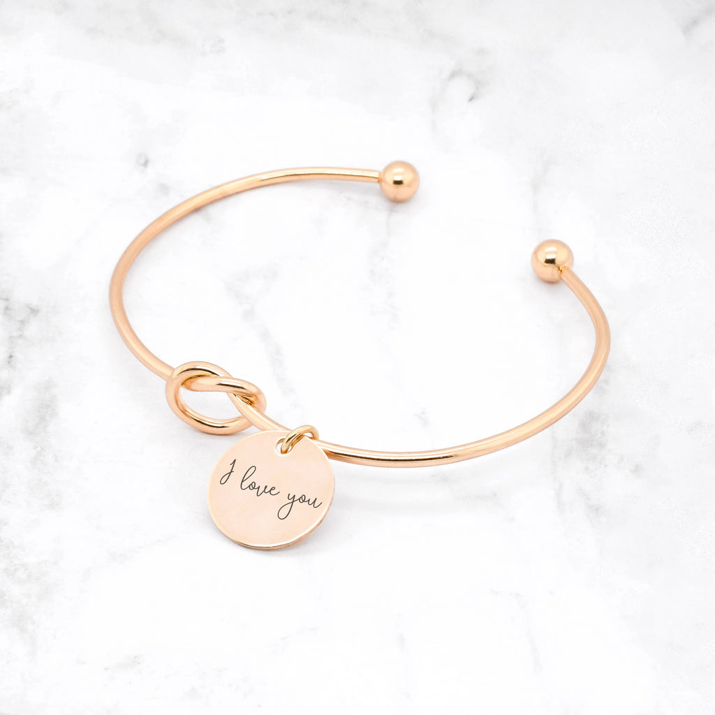 Knot Handwriting Bracelet Gold