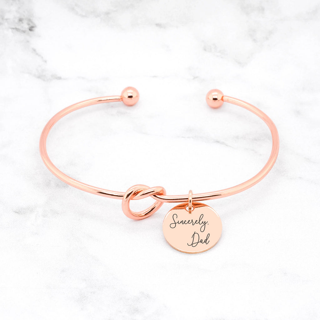Knot Handwriting Bracelet Rose Gold