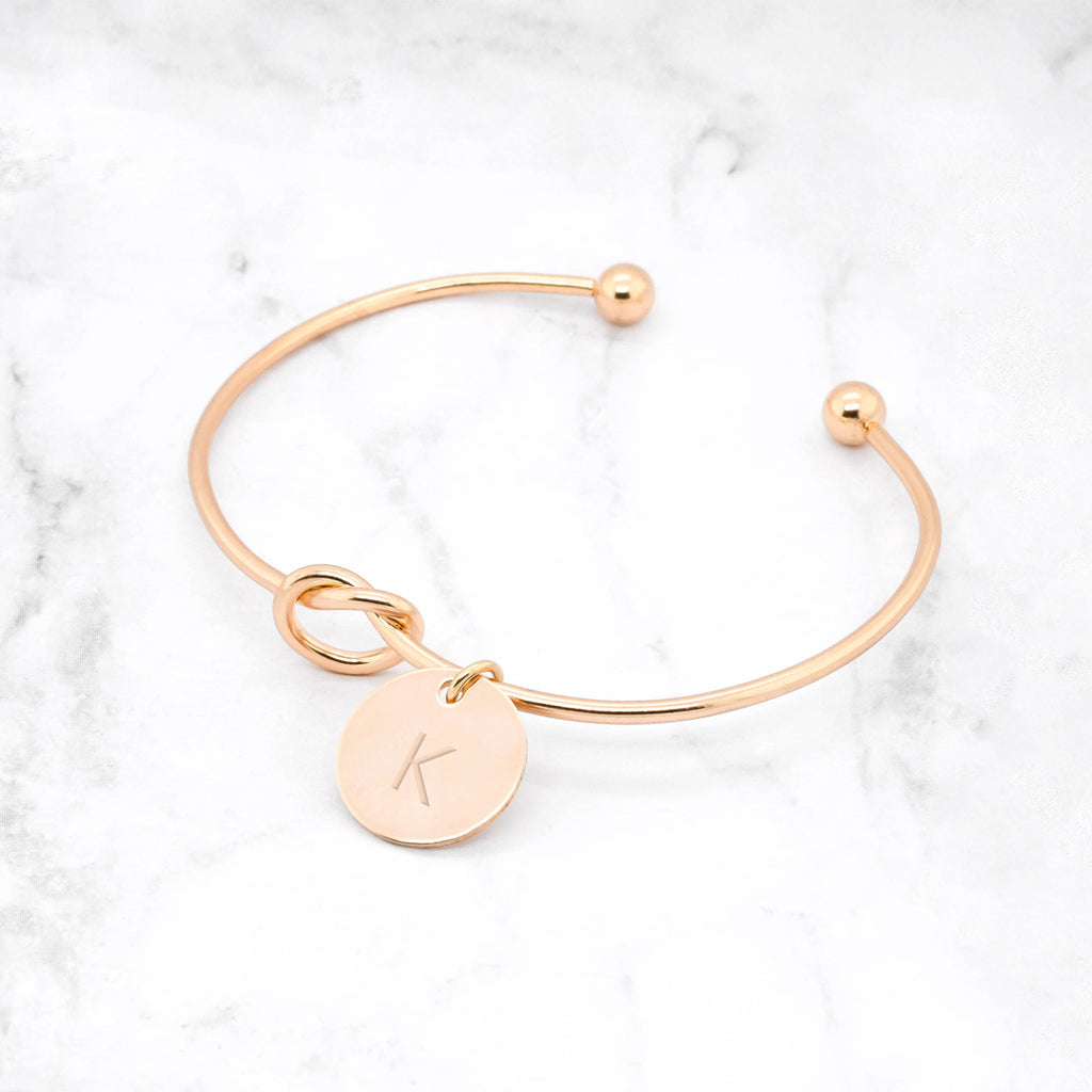 Knot Initial Bracelet - Gold