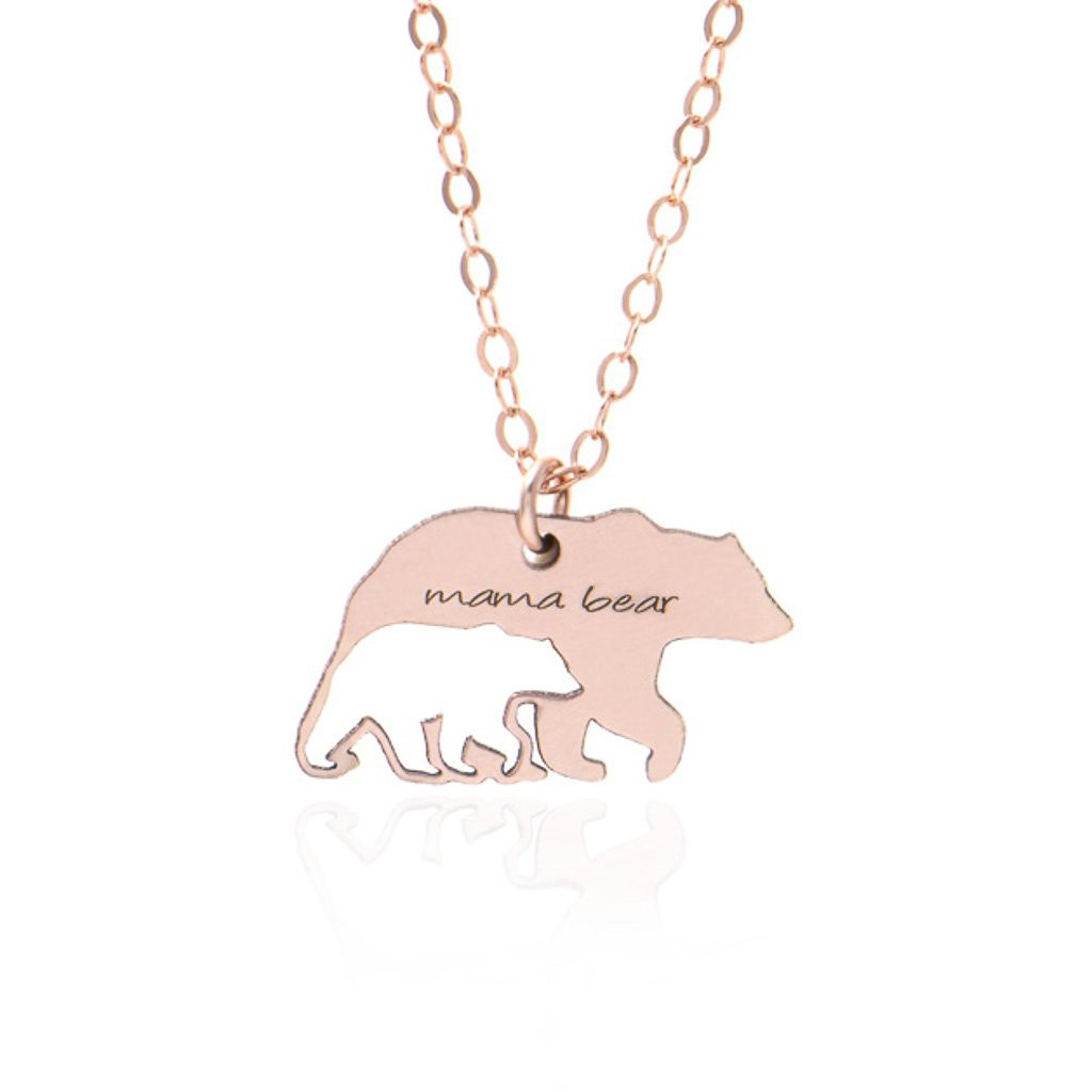 Rose Gold Mama Bear Necklace