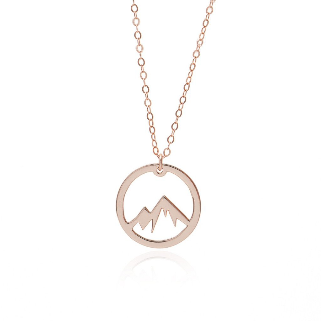 Circle Mountain Necklace Rose Gold Adventure Necklace