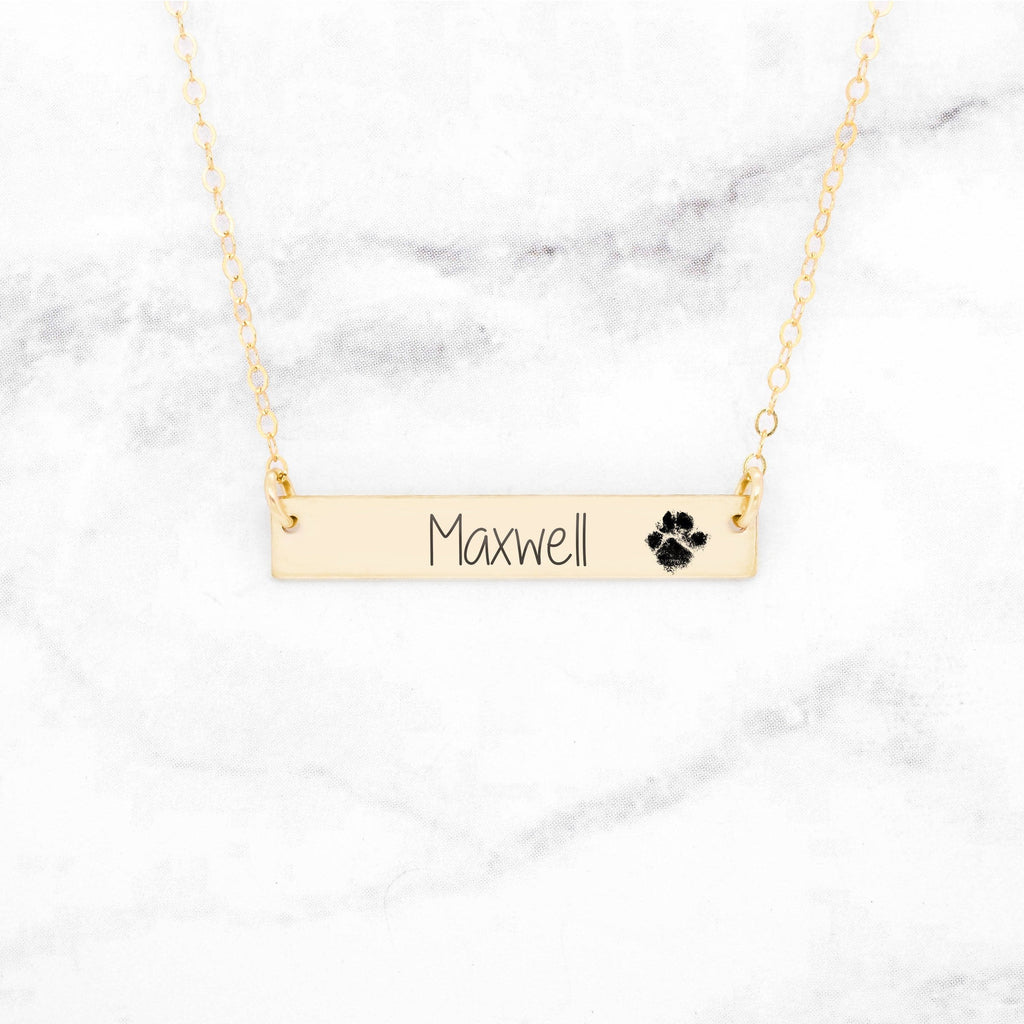 Paw Print Bar Necklace - Custom Gold Pet Necklace