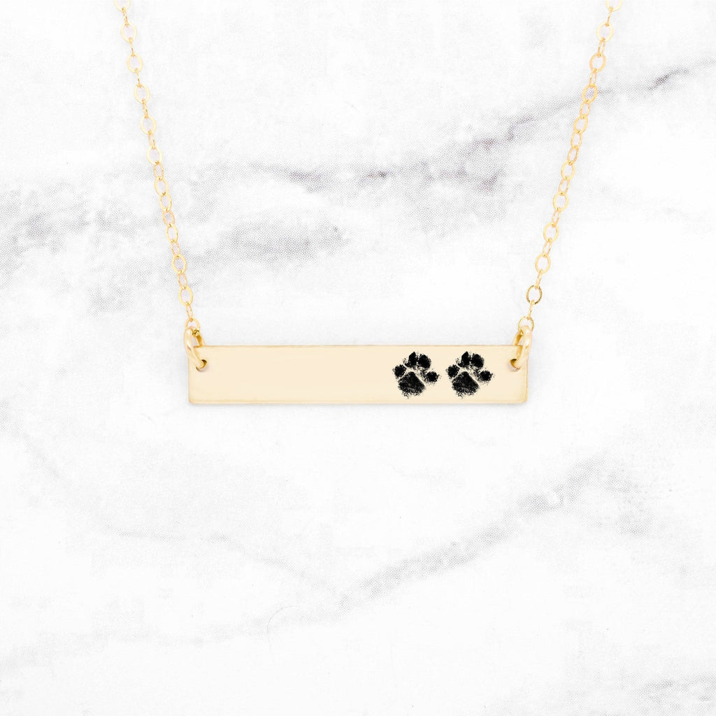 Paw Print Bar Necklace - Custom Gold Paw Print Necklace