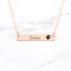 Paw Print Bar Necklace - Custom Rose Gold Pet Necklace