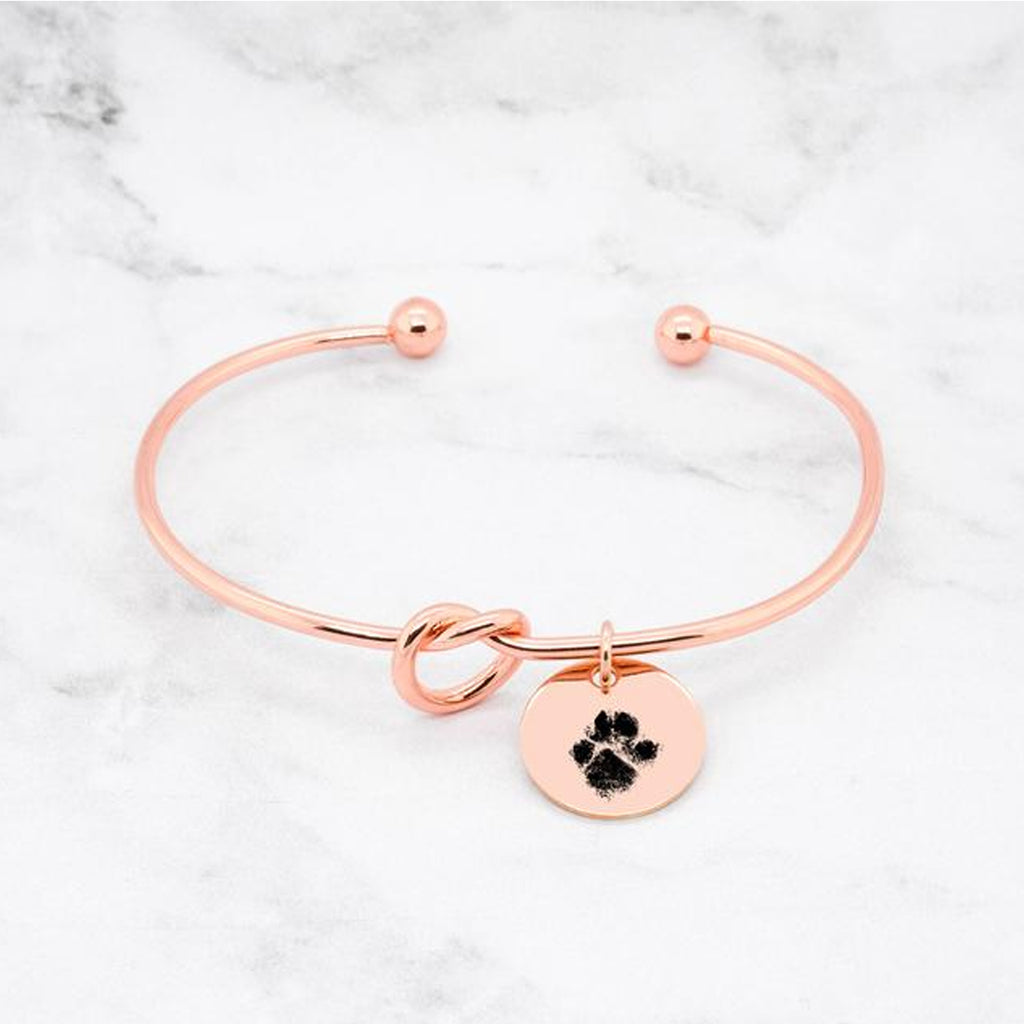 Paw Print Knot Bangle - Custom Paw Print Bracelet