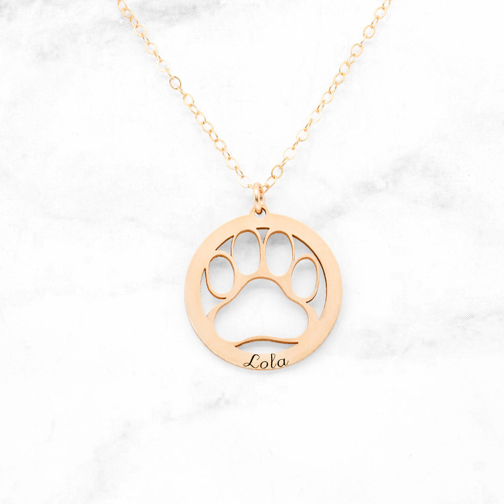 Paw Print Necklace - Gold Personalized Dog Paw Necklace