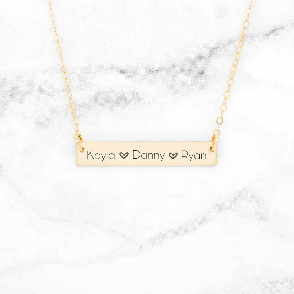 Personalized Name Bar Necklace - Custom Horizontal Bar Necklace