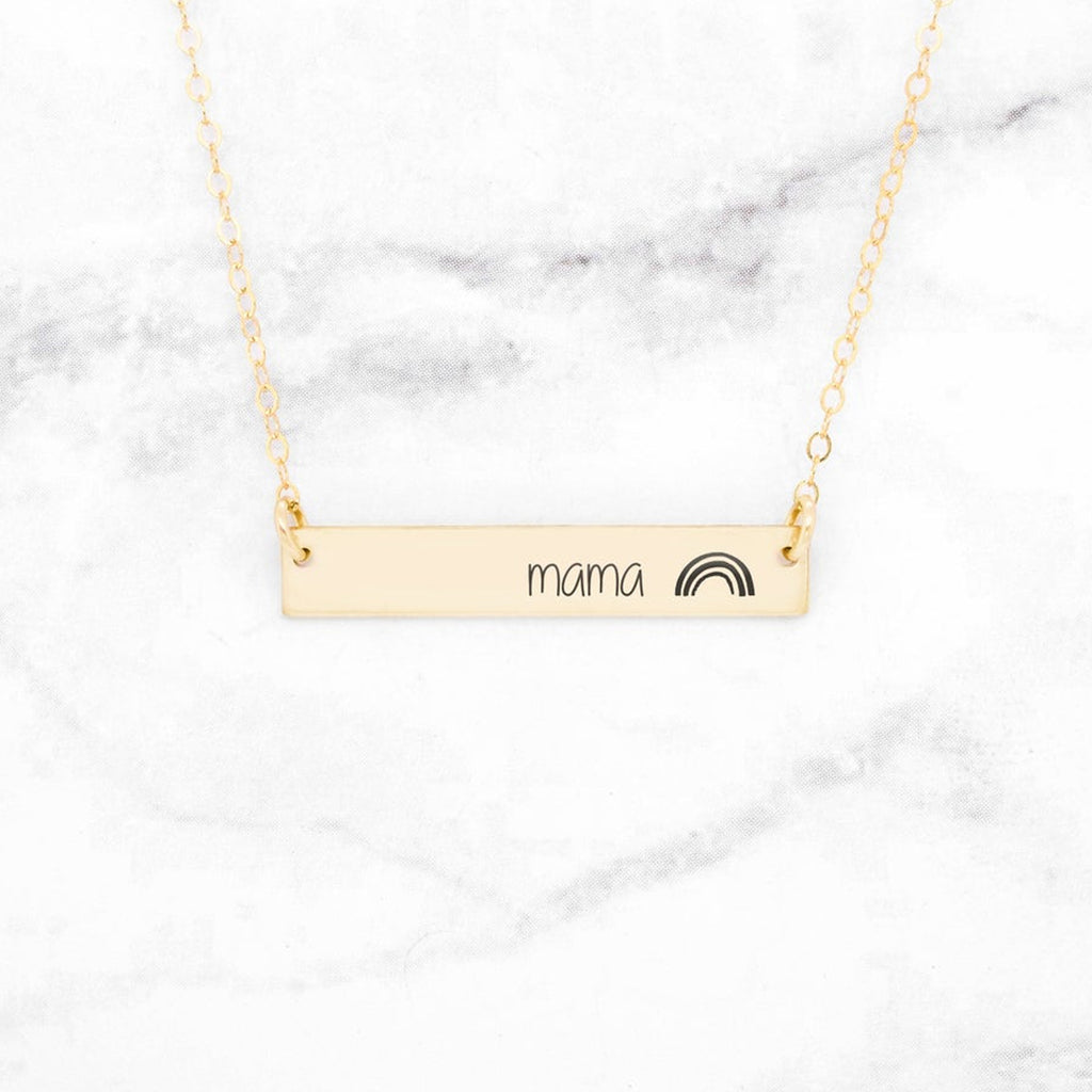Personalized Rainbow Bar Necklace - Gift For Mom