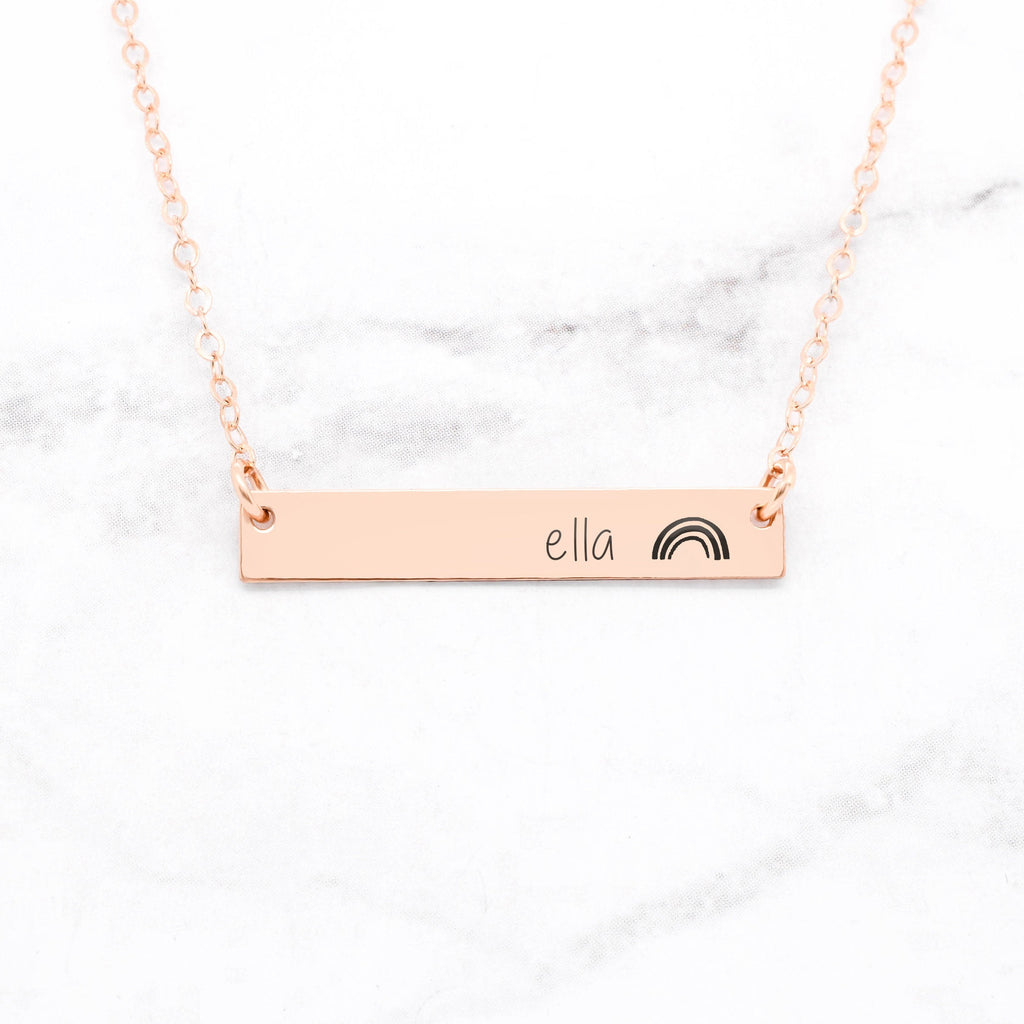Personalized Rainbow Bar Necklace - Rose Gold