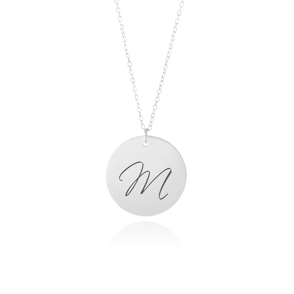 personalized initial necklace silver