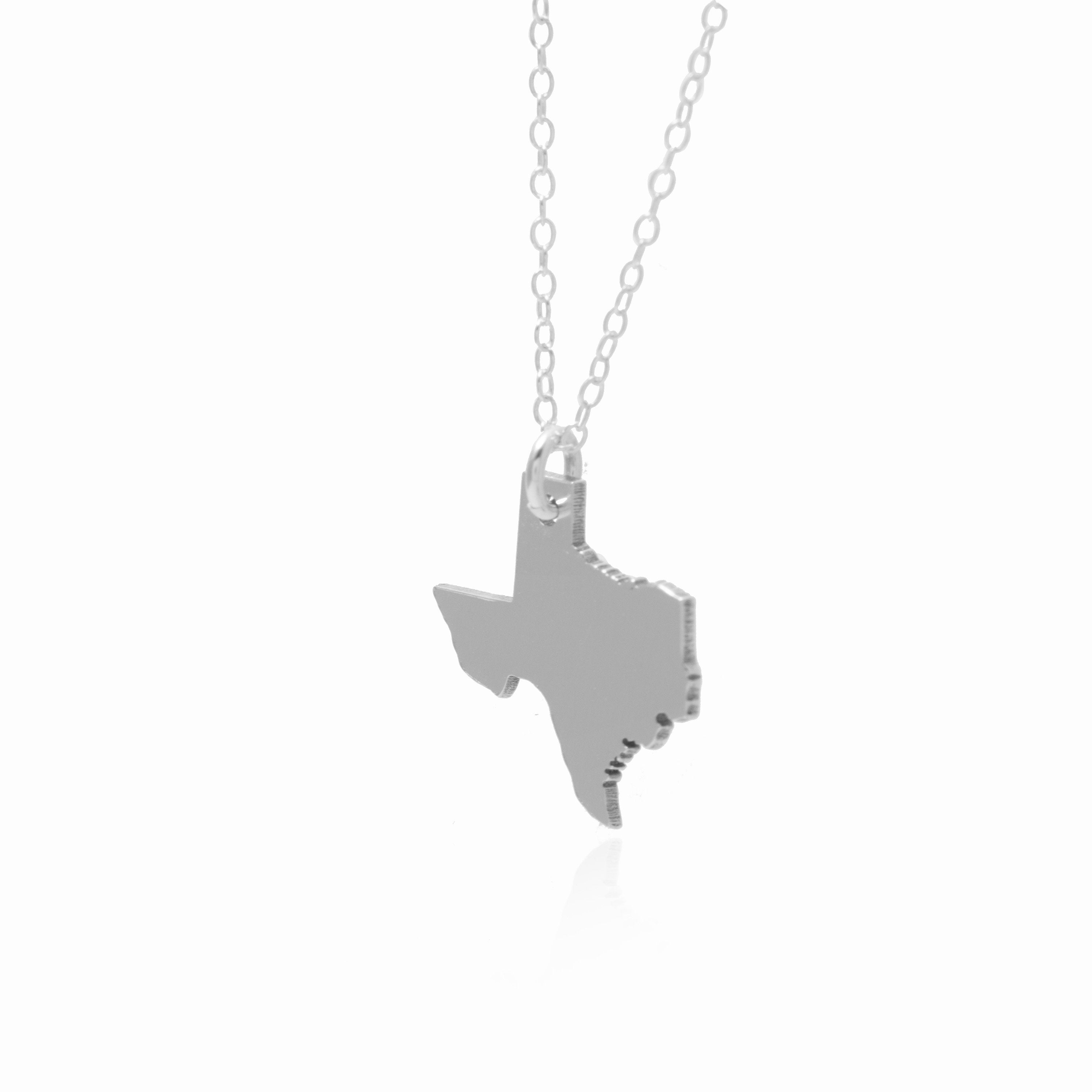 Texas Necklace Sterling Silver Texas Shaped Jewelry