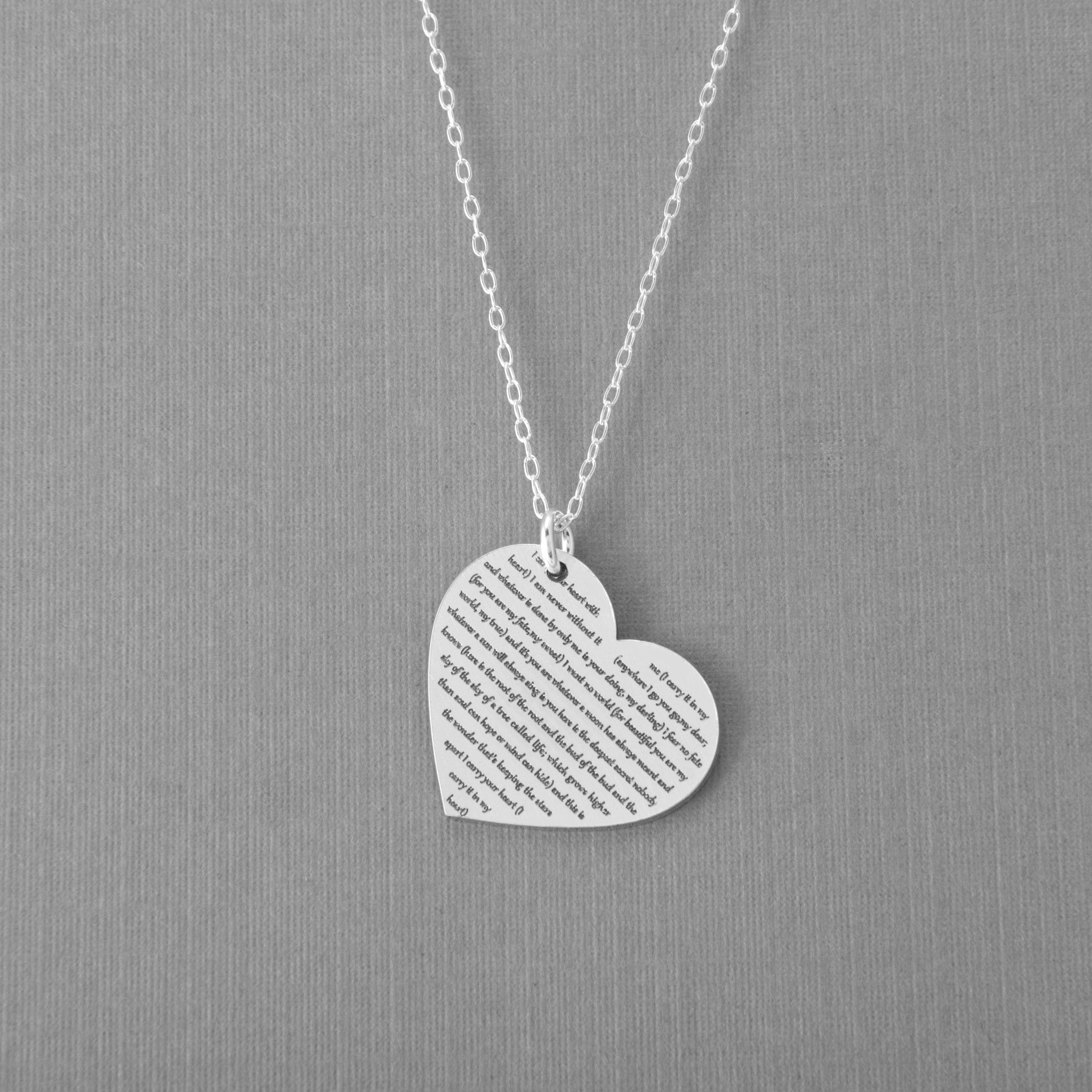 Personalized Heart Lyric Necklace Or Wedding Vows