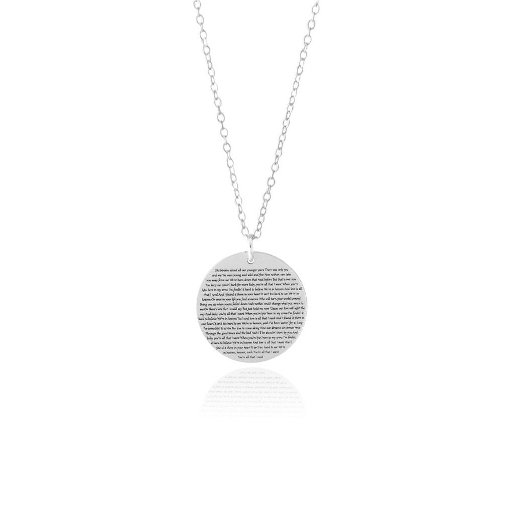 76f8e00da3425 Personalized Circle Disc Necklace with Lyrics or Wedding Vows
