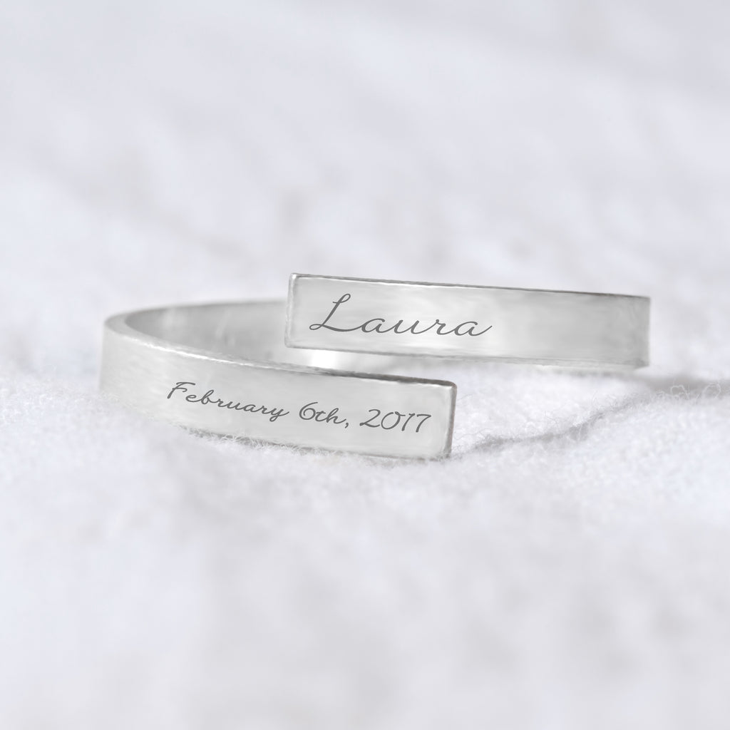 Personalized Name And Date Wrap Ring