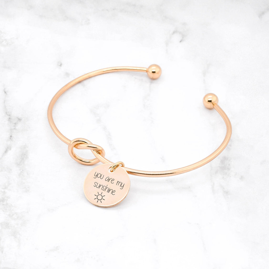 You Are My Sunshine Bracelet - Gold Knot Bangle
