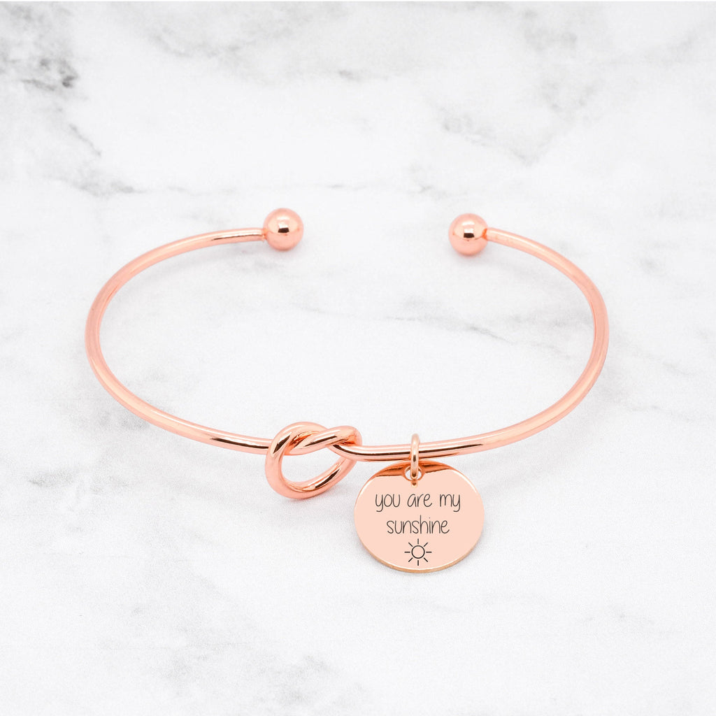 You Are My Sunshine Bracelet - Rose Gold Knot Bangle