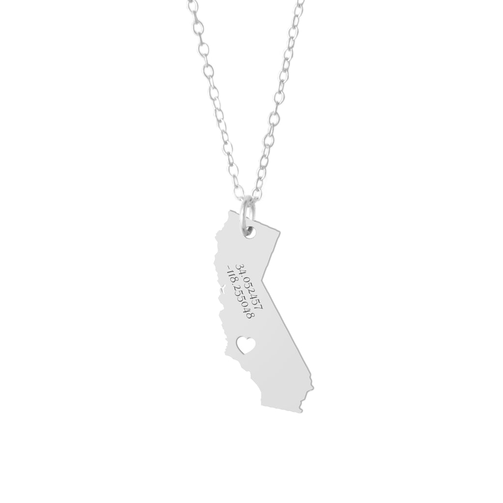 California GPS Coordinates Necklace