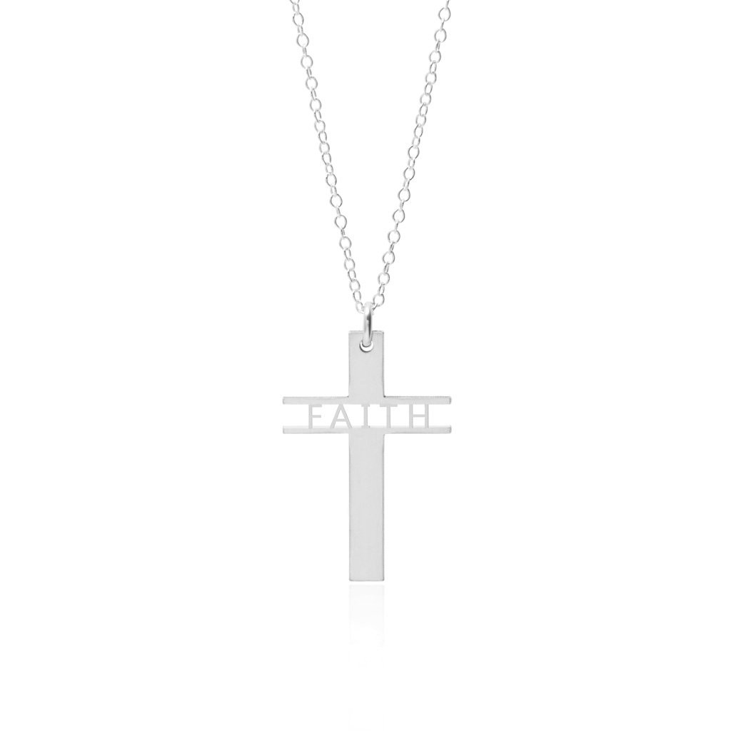 Faith Cross Necklace, Premium Sterling Silver Necklace