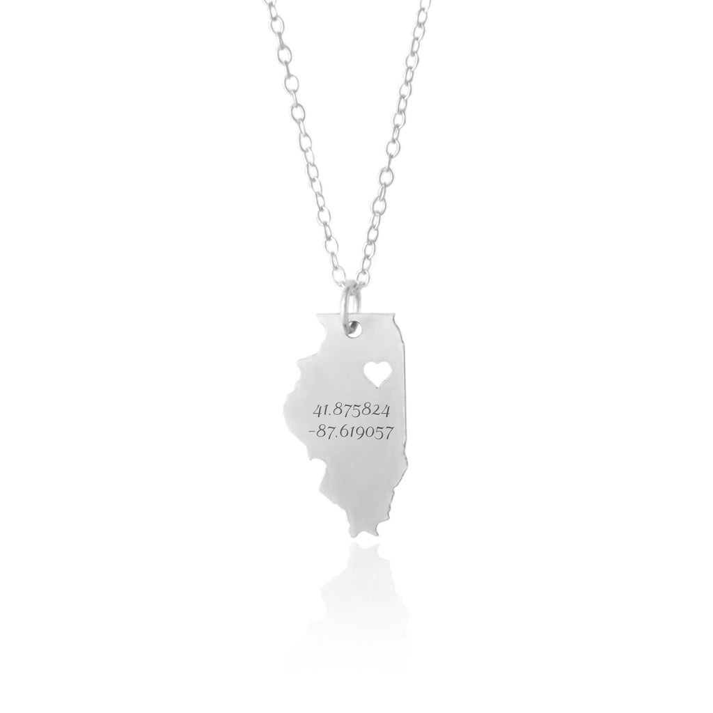 Illinois State Coordinates Necklace