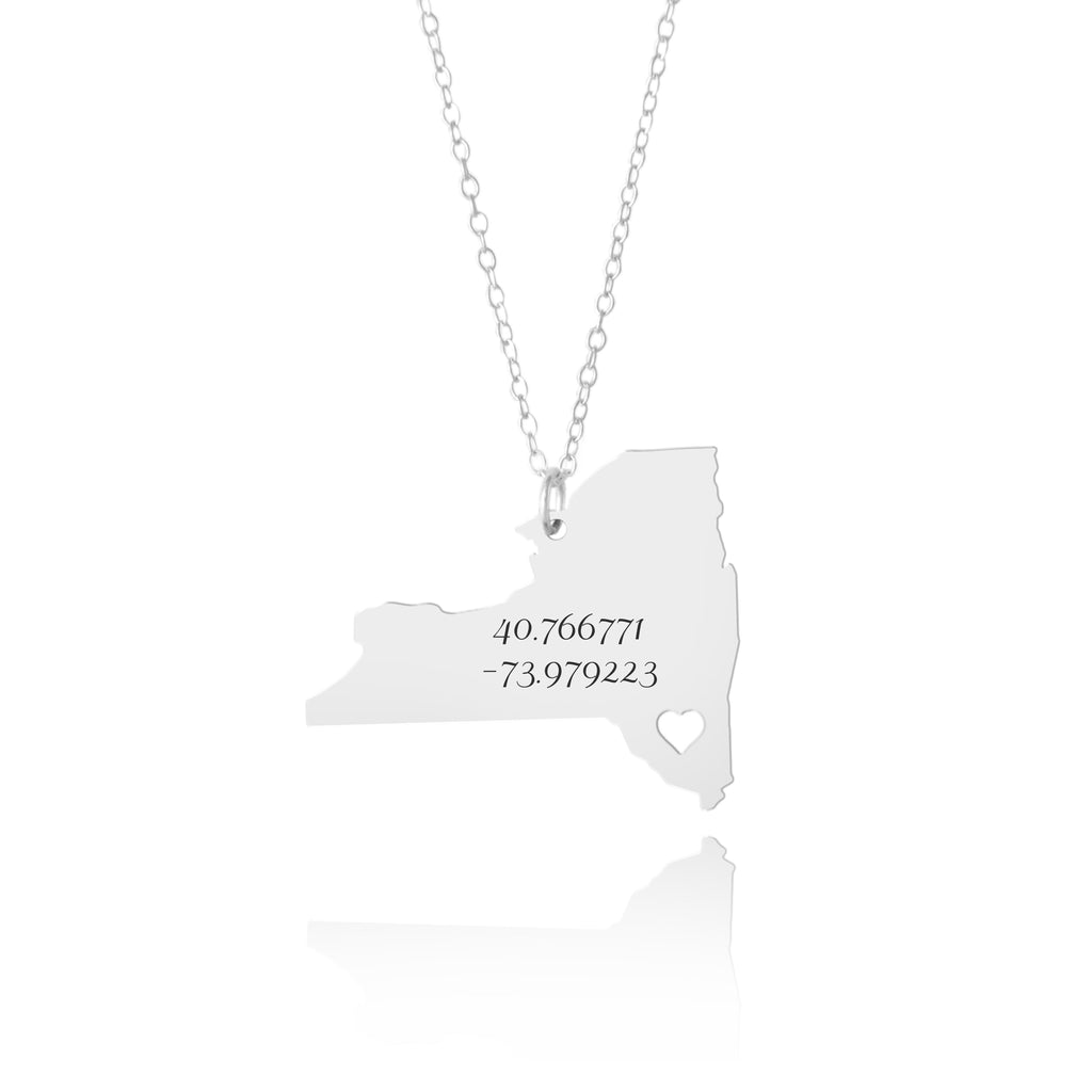 New York Custom Coordinates Necklace