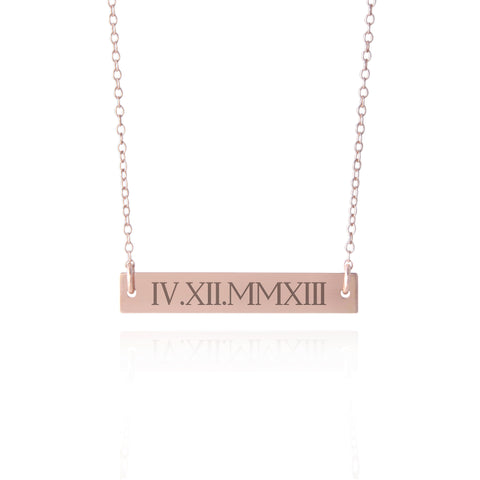 48525581f Select options. Roman Numeral Necklace Rose Gold