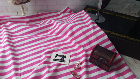 Pink and white half inch stripes 95/5 cotton lycra 4 way stretch knit fabric